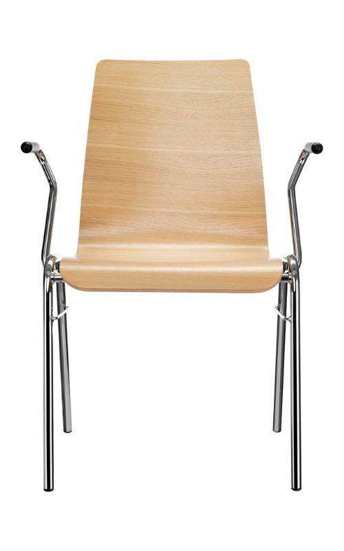 MSM Stapelstuhl Serie 3100 mit 4 Fuß Gestell und Sitzschale aus Holz und Armlehne