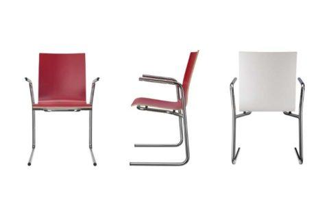 MSM Stapelstuhl Serie 3100 C Fuß Gestell und Sitzschale rot und weiß beschichtet