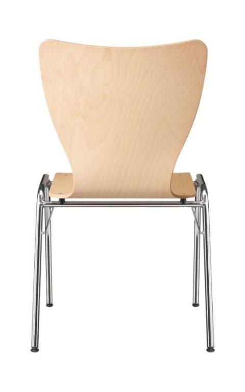 MSM Stapelstuhl Serie 3100 4 Fuß Gestell und Sitzschale aus Holz