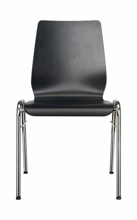 MSM Stapelstuhl Serie 3100 4 Fuß Gestell und Sitzschale aus Holz schwarz