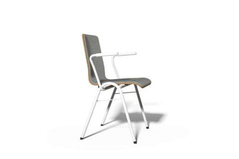 MSM Stapelstuhl Serie 3200 und Sitzschale aus Holz und Polsterung Vorderseite grau