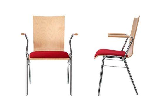 MSM Stapelstuhl Serie 3200 und Sitzschale aus Holz und Sitzpolster rot