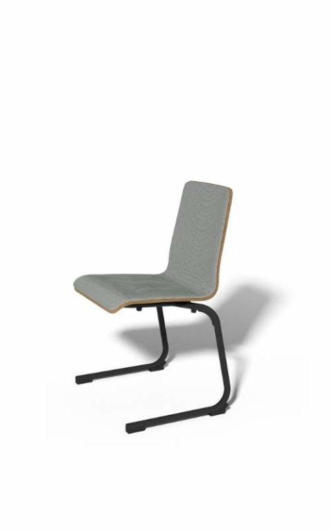 MSM Stapelstuhl Serie 3100 C Fuß Gestell schwarz und Sitzschale vorne grau gepolstert