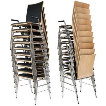 MSM Stapelstuhl Serie 3500 und Sitzschale gepolstert und gestapelt