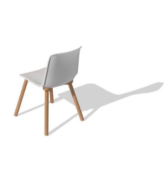 MSM Stuhl FF3 Kunststoffschale weiß Gestell Holz