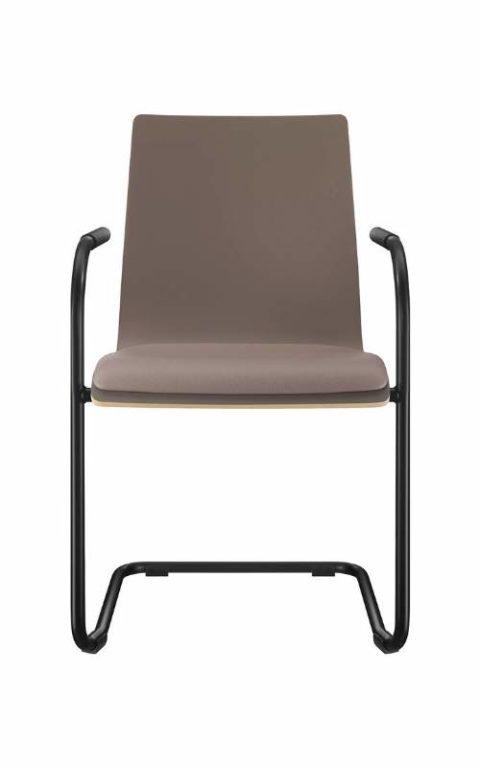 MSM Stapelstuhl Genius Freischwinger Sitzschale grau und gepolstert Gestell schwarz