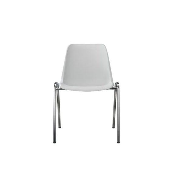 MSM Stapelstuhl 3150 mit weißer Kunststoffschale und Gestell Chrom
