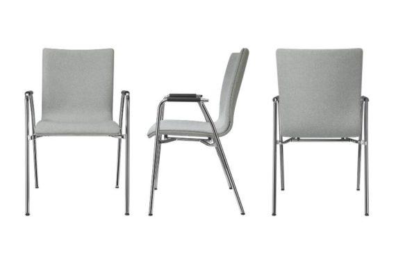 MSM Stuhl 3285 Sitzschale gepolstert grau Gestell Chrom Armlehne