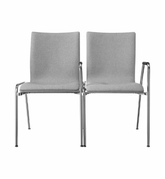 MSM Stuhl 3285 Sitzschale gepolstert grau Gestell Chrom Gestellverkettung