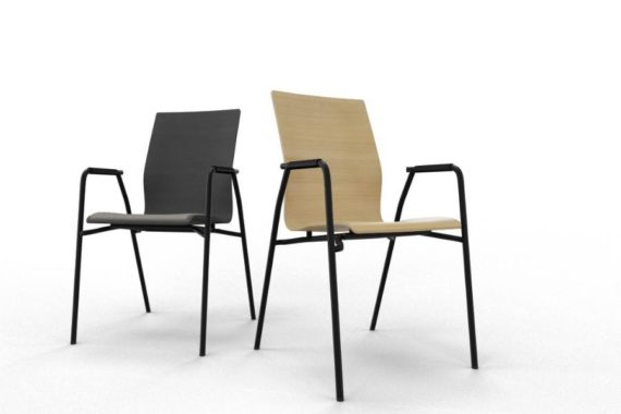 MSM Stuhl 3285 Sitzschale Holz und schwarz Gestell schwarz