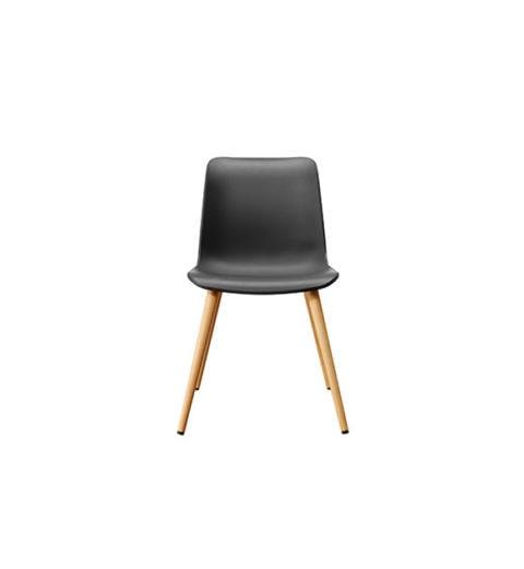 MSM Stuhl FF3 Kunststoffschale schwarz Gestell Holz