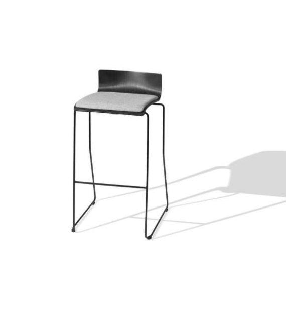 MSM Barhocker schwarz mit grauer Sitzfläche