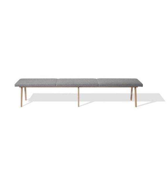 MSM Sitzbank Eiche mit grauen Polstern und Sitzbank Gestell Eiche Sitzfläche grau gepolstert
