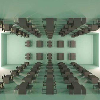 MSM Sitzbänke in Kombination mit Tischen in Raum