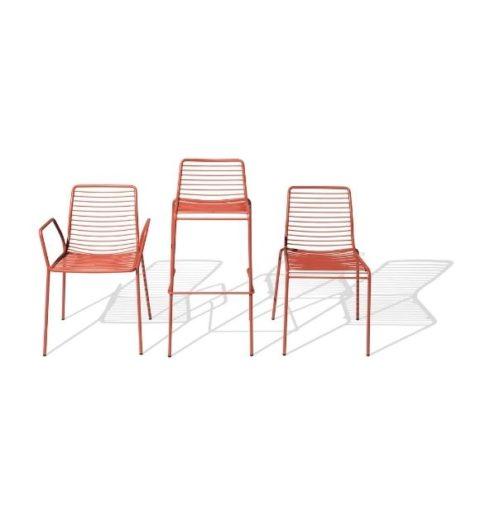 MSM Stuhl mit und ohne Armlehne und Barhocker Modell Margarete Outdoor mit Gestell Volldraht rot