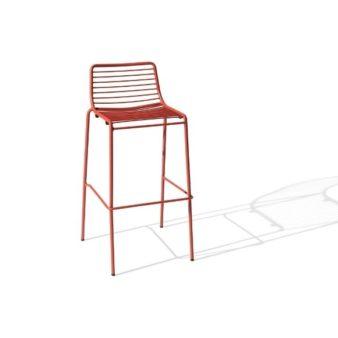 MSM Barhocker Modell Margarete Outdoor mit Gestell Volldraht rot