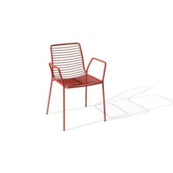 MSM Stuhl mit Armlehne Modell Margarete Outdoor mit Gestell Volldraht rot