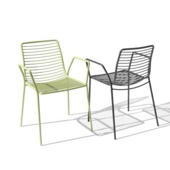 MSM Outdoor Stühle Margarete mit Gestell Volldraht grau und grün
