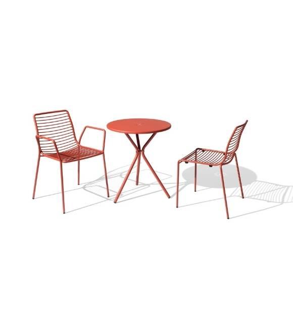 MSM Stuhl und Tisch Modell Margarete Outdoor mit Gestell Volldraht rot