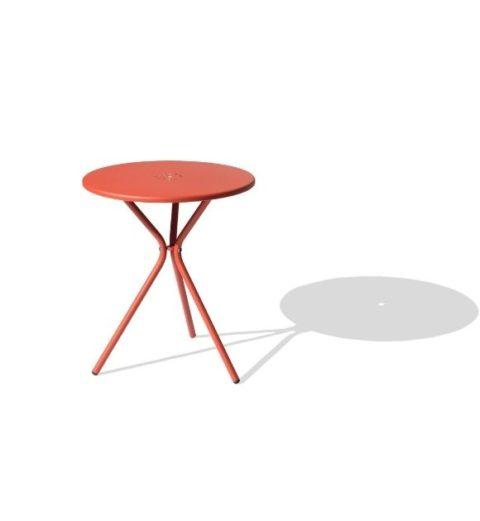 MSM Tisch Modell Margarete Outdoor Gestell Dreibein Tischplatte rund rot