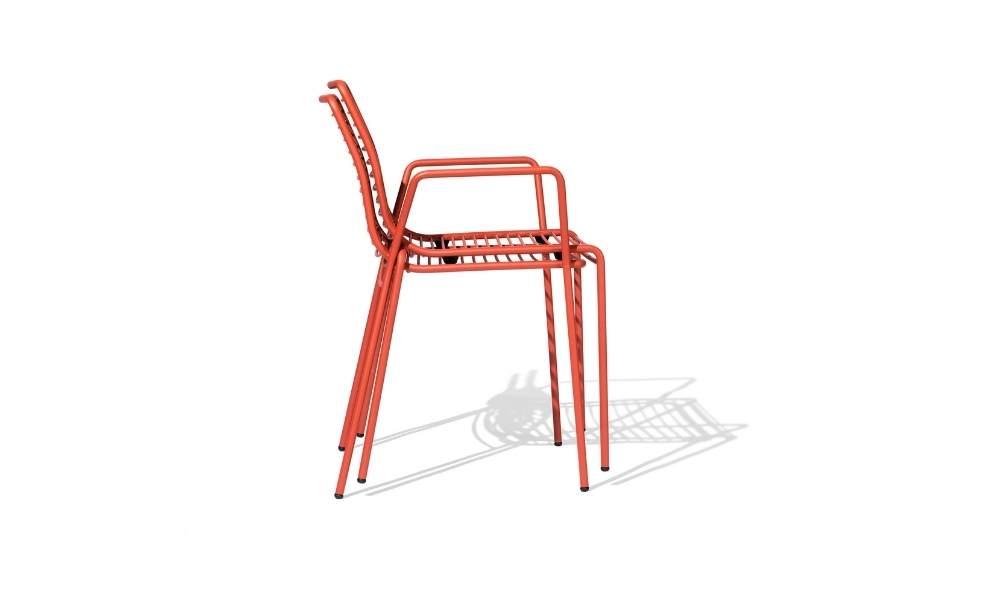 MSM Stühle Margarete Outdoor mit Gestell Volldraht rot