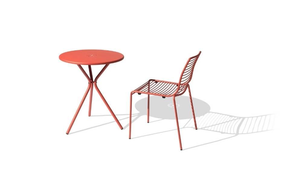 MSM Tisch mit Stuhl Margarete Outdoor mit Gestell Volldraht rot