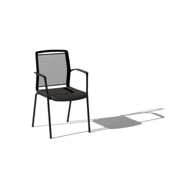 MSM Stapelstuhl 4 Fuß Eight schwarz mit ergonomischem Netzrücken
