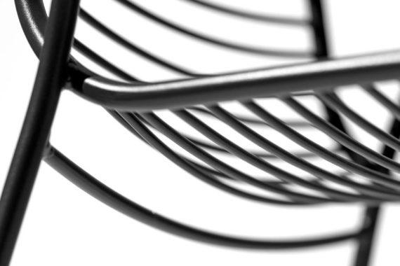 MSM Outdoor Stühle Margarete mit Gestell Volldraht grau, Sitz im Detail