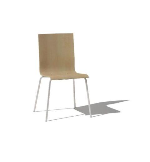 MSM Stuhl 3652 mit Holzschale und weißem Gestell