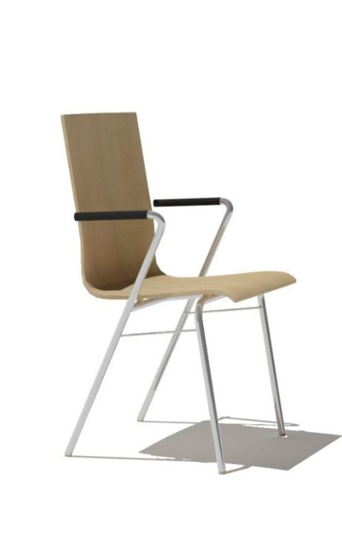 MSM Stuhl 3652 mit Holzschale, weißem Gestell und Armlehne