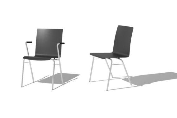 MSM Stuhl 3652 mit schwarzer Holzschale, weißem Gestell, mit und ohne Armlehne