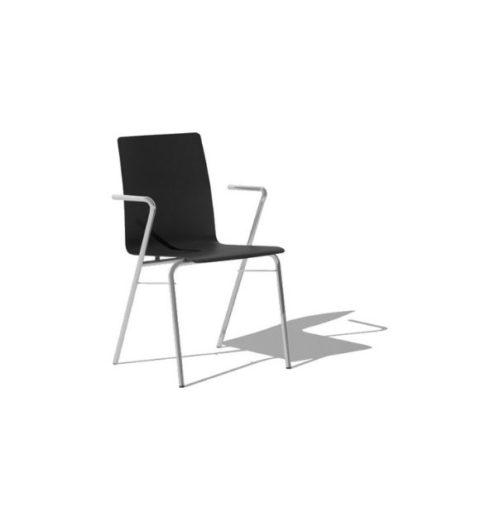 MSM Stuhl 3652 mit schwarzer Holzschale, weißem Gestell und Armlehne
