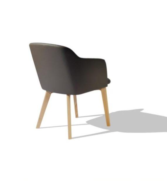 MSM Form & Furniture Modell Klara, Lounge- und Konferenzstuhl, vollgepolsterte Sitzschale, modernes Gestell aus Holz