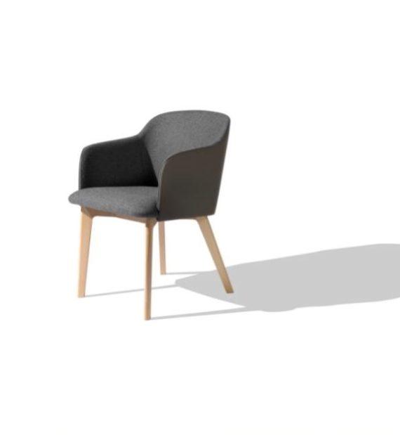 MSM Form & Furniture Modell Klara, Wood Lounge- und Konferenzstuhl, vollgepolsterte Sitzschale, modernes Gestell aus Holz