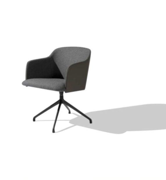 MSM Form & Furniture Modell Klara Steel, Lounge- und Konferenzstuhl, vollgepolsterte Sitzschale, modernes Gestell aus Metall