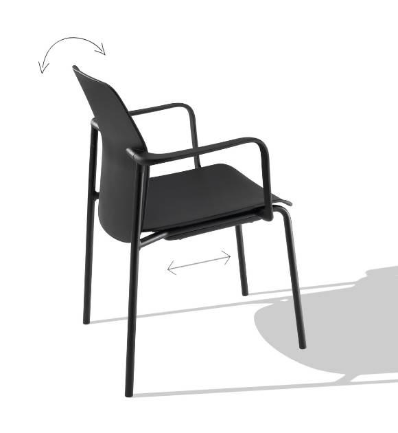 MSM Form & Furniture Modell Slide, Stapelstuhl schwarz, ergonomische, bewegliche Sitzschale