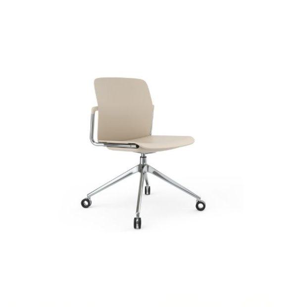 MSM Form & Furniture Modell Meet Slide, Konferenzstuhl, Drehstuhl weiß und Chrom, ergonomische, bewegliche Sitzschale