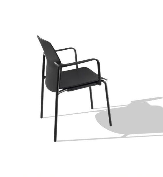 MSM Form & Furniture Modell FOUR Slide, Stapelstuhl schwarz, ergonomische, bewegliche Sitzschale