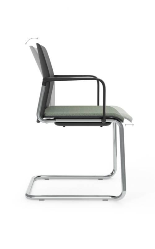 MSM Form & Furniture Modell Swing Slide, Freischwinger, Stapelstuhl schwarz, ergonomische, bewegliche Sitzschale