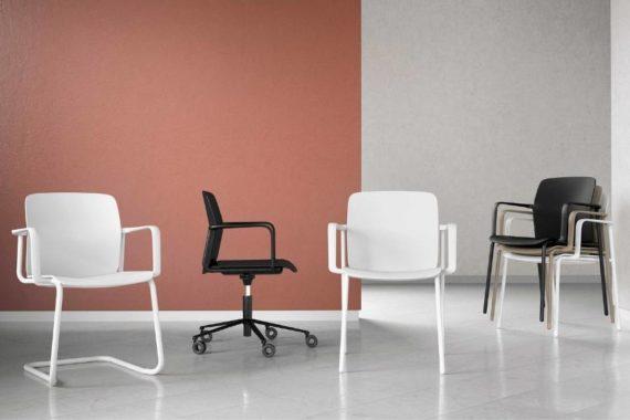 MSM Form & Furniture Modell Slide, verschiedene Modelle aus der Serie, ergonomische, bewegliche Sitzschale