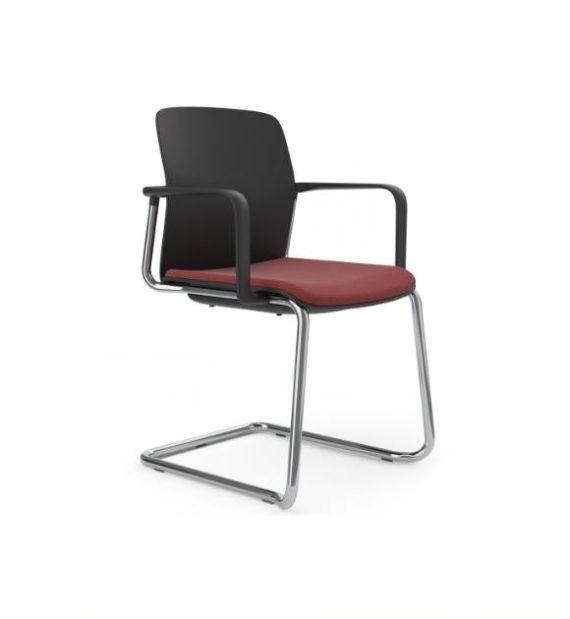 MSM Form & Furniture Modell Swing Slide, Freischwinger, Stapelstuhl schwarz mit Sitzpolster, ergonomische, bewegliche Sitzschale