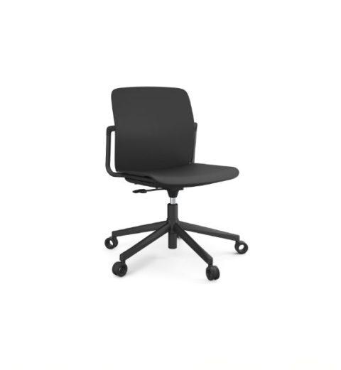 MSM Form & Furniture Modell Work Slide, Bürostuhl, Drehstuhl schwarz, ergonomische, bewegliche Sitzschale