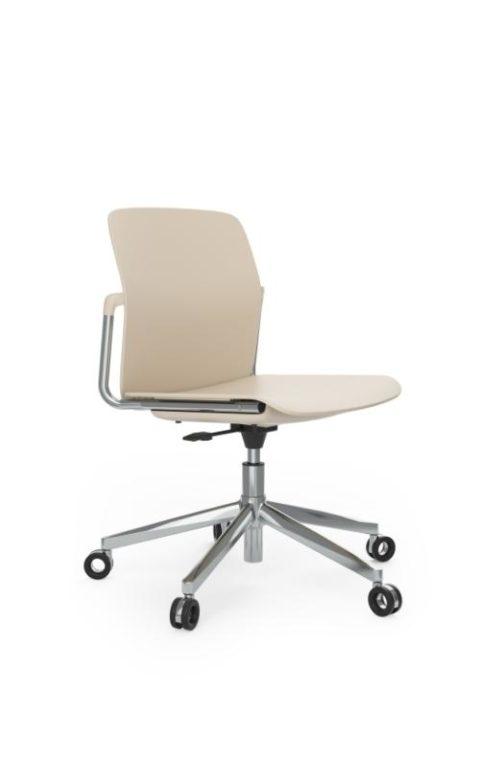 MSM Form & Furniture Modell Work Slide, Bürostuhl, Drehstuhl weiß und Chrom, ergonomische, bewegliche Sitzschale