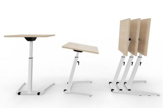 MSM Single Table, multifunktionaler Tisch, Tischplatte weiß und kippbar, Gestell Chrom, in unterschiedlichen Positionen