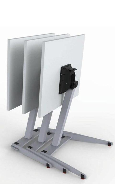 MSM Single Table, multifunktionaler Tisch, Tischplatte weiß und kippbar, Gestell Chrom, mehrere Tische gestaffelt